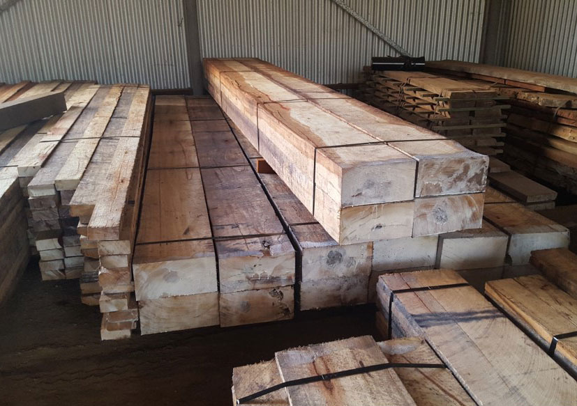 Beautiful big Red Gum beams for a customer