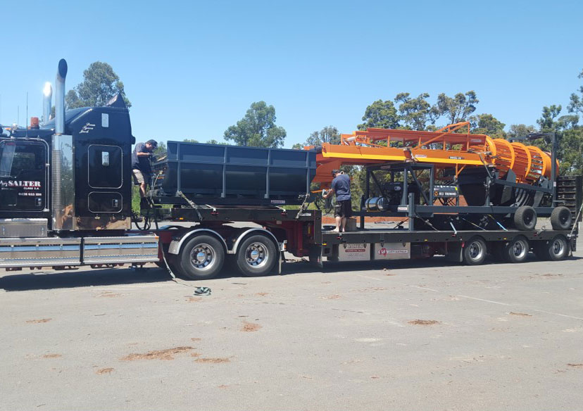 Trommel arriving to clean our wood (from Whitelands Engineering Victoria)